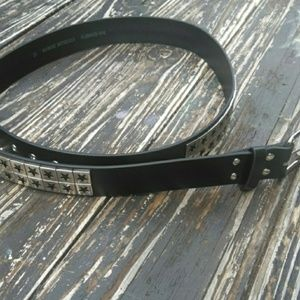2X Black Faux Leather Silver Star Belt
